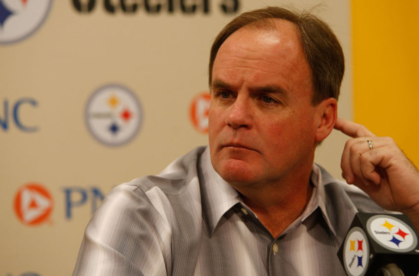 PITTSBURGH - APRIL 19: Director of Football Operations Kevin Colbert of the Pittsburgh Steelers speaks during a press conference following practice on April 19, 2010 at the Pittsburgh Steelers South Side training facility in Pittsburgh, Pennsylvania. (Photo by Jared Wickerham/Getty Images)