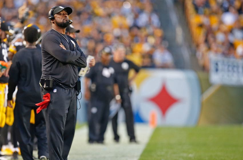 PITTSBURGH, PA - OCTOBER 22: Head coach Mike Tomlin of the Pittsburgh Steelers looks on from the sidelines in the first half during the game against the Cincinnati Bengals at Heinz Field on October 22, 2017 in Pittsburgh, Pennsylvania. (Photo by Justin K. Aller/Getty Images)