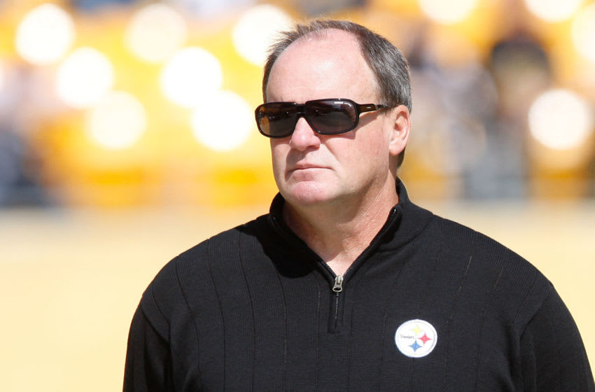 PITTSBURGH - SEPTEMBER 18: Director of football operations Kevin Colbert watches the Pittsburgh Steelers warm up prior to the game against the Seattle Seahawks on September 18, 2011 at Heinz Field in Pittsburgh, Pennsylvania. (Photo by Jared Wickerham/Getty Images)