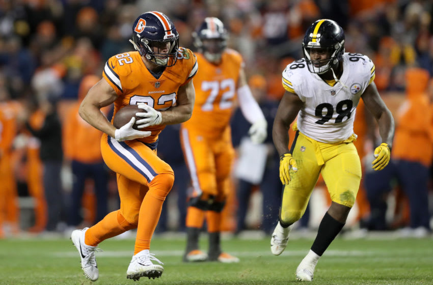 DENVER, CO - NOVEMBER 25: Jeff Heuerman #82 of the Denver Broncos carries the ball against the Pittsburgh Steelers at Broncos Stadium at Mile High on November 25, 2018 in Denver, Colorado. (Photo by Matthew Stockman/Getty Images)