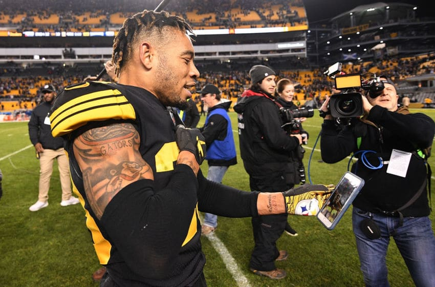 PITTSBURGH, PA - DECEMBER 16: Joe Haden #23 of the Pittsburgh Steelers reacts at the conclusion of a 17-10 win over the New England Patriots at Heinz Field on December 16, 2018 in Pittsburgh, Pennsylvania. (Photo by Justin Berl/Getty Images)