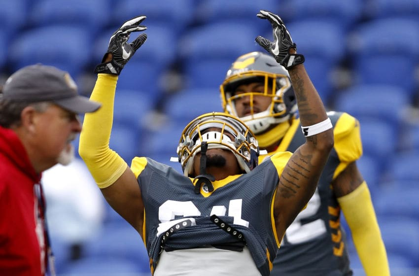 MEMPHIS, TENNESSEE - MARCH 02: Kameron Kelly #24 of San Diego Fleet warms up prior to the Alliance of American Football game against the Memphis Express at Liberty Bowl Memorial Stadium on March 02, 2019 in Memphis, Tennessee. (Photo by Wesley Hitt/AAF/Getty Images)