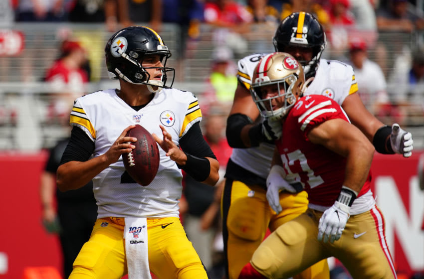 SANTA CLARA, CALIFORNIA - SEPTEMBER 22: Mason Rudolph #2 of the Pittsburgh Steelers drops back to pass during the first half against the San Francisco 49ers at Levi's Stadium on September 22, 2019 in Santa Clara, California. (Photo by Daniel Shirey/Getty Images)