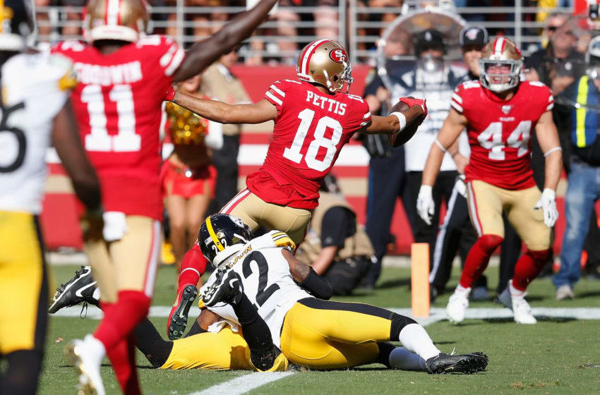 SANTA CLARA, CALIFORNIA - SEPTEMBER 22: Dante Pettis #18 of the San Francisco 49ers scores a touchdown in the fourth quarter against the Pittsburgh Steelers at Levi's Stadium on September 22, 2019 in Santa Clara, California. (Photo by Lachlan Cunningham/Getty Images)