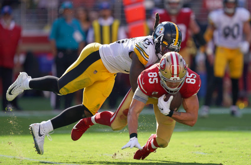 Devin Bush Pittsburgh Steeler George Kittle 49ers (Photo by Thearon W. Henderson/Getty Images)