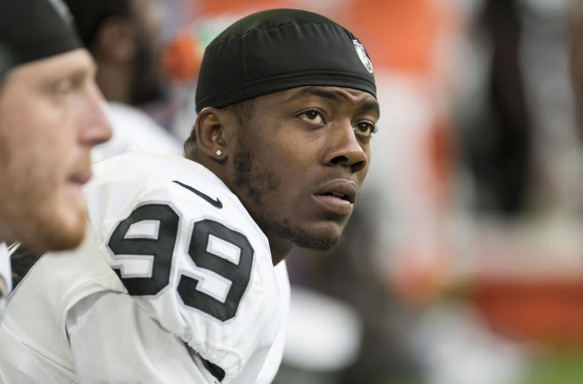 Arden Key #99 of the Oakland Raiders (Photo by Stephen Maturen/Getty Images)