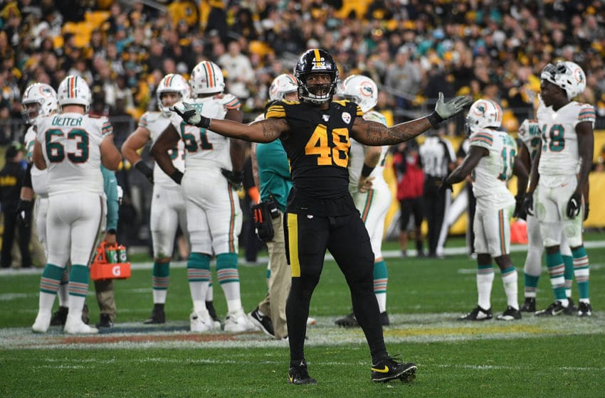 PITTSBURGH, PA - OCTOBER 28: Bud Dupree #48 of the Pittsburgh Steelers attempts to pump up the crowd in the second half during the game against the Miami Dolphins at Heinz Field on October 28, 2019 in Pittsburgh, Pennsylvania. (Photo by Justin Berl/Getty Images)