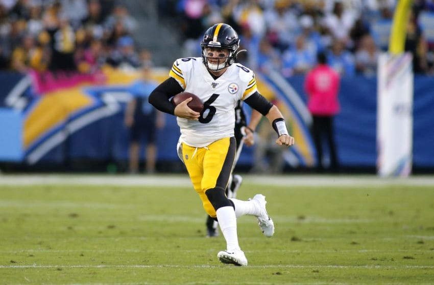 CARSON, CALIFORNIA - OCTOBER 13: Quarterback Devlin Hodges #6 of the Pittsburgh Steelers runs the ball down the field against the Los Angeles Chargers at Dignity Health Sports Park on October 13, 2019 in Carson, California. (Photo by Katharine Lotze/Getty Images)