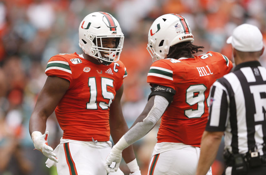 Gregory Rousseau Miami Hurricanes Trevon Hill (Photo by Michael Reaves/Getty Images)
