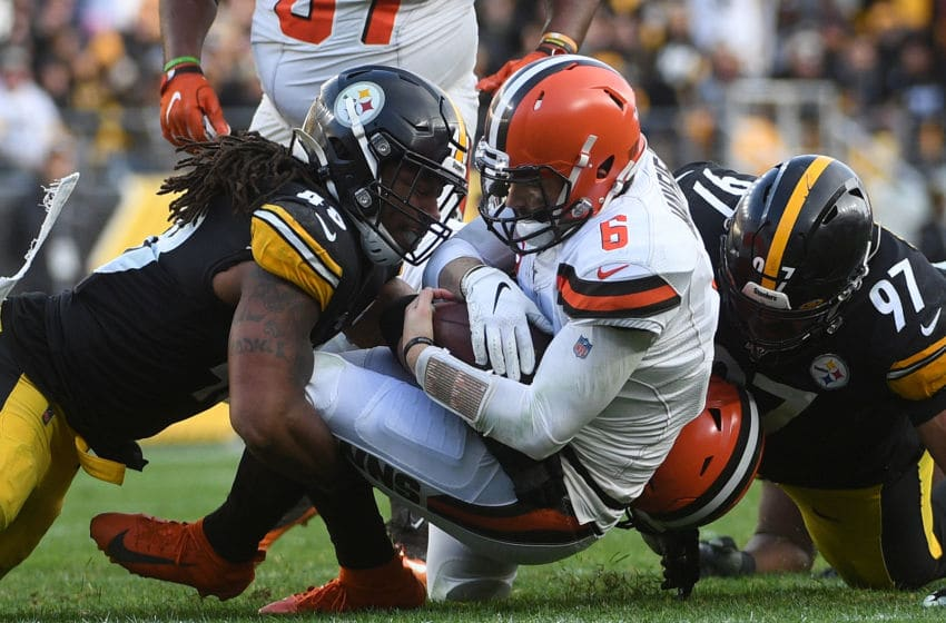 PITTSBURGH, PA - DECEMBER 01: Baker Mayfield #6 of the Cleveland Browns is sacked by Bud Dupree #48 of the Pittsburgh Steelers in the third quarter during the game at Heinz Field on December 1, 2019 in Pittsburgh, Pennsylvania. (Photo by Justin Berl/Getty Images)
