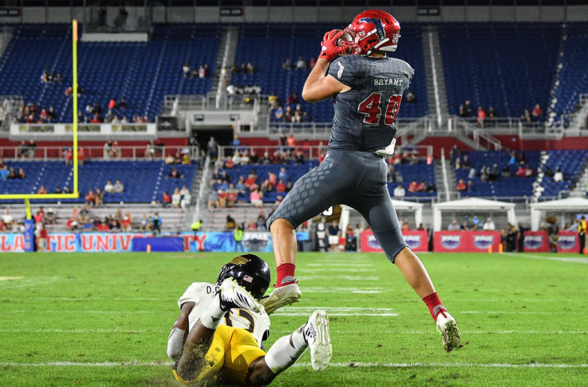BOCA RATON, FLORIDA - NOVEMBER 30: Harrison Bryant #40 of the Florida Atlantic Owls catches his third touchdown against the Southern Miss Golden Eagles in the second half at FAU Stadium on November 30, 2019 in Boca Raton, Florida. (Photo by Mark Brown/Getty Images)