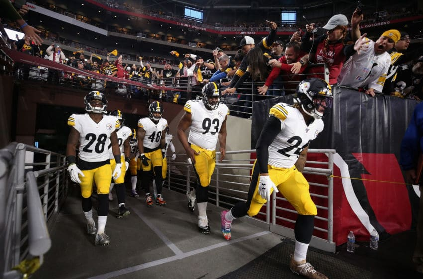 GLENDALE, ARIZONA - DECEMBER 08: (L-R) Mike Hilton #28, Bud Dupree #48, Dan McCullers #93 and Benny Snell Jr. #24 of the Pittsburgh Steelers run onto the field for the NFL game against the Arizona Cardinals at State Farm Stadium on December 08, 2019 in Glendale, Arizona. The Steelers defeated the Cardinals 23-17. (Photo by Christian Petersen/Getty Images)