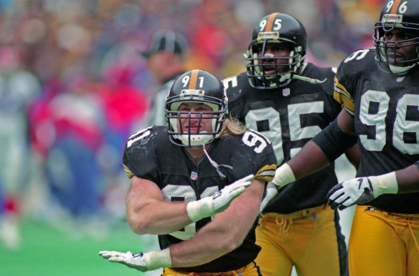 Kevin Greene #91 of the Pittsburgh Steelers (Photo by George Gojkovich/Getty Images)