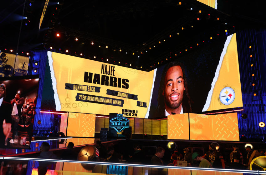 NFL Commissioner Roger Goodell announces Najee Harris (Photo by Gregory Shamus/Getty Images)