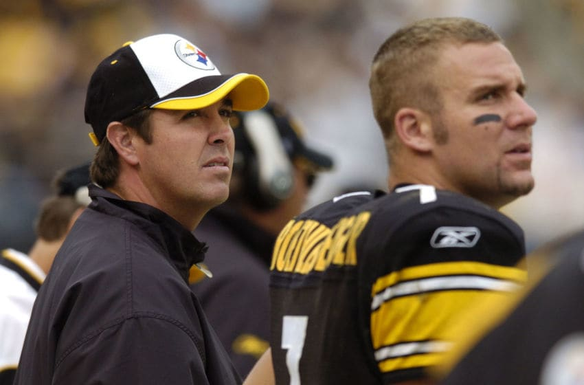 PITTSBURGH, PA - OCTOBER 10: Quarterbacks Tommy Maddox (L) and Ben Roethlisberger #7 of the Pittsburgh Steelers watch from the sidelines during the fourth quarter against the Cleveland Browns on October 10, 2004 at Heinz Field in Pittsburgh, Pennsylvania. Pittsburgh defeated Cleveland 34-23. (Photo by David Maxwell/Getty Images)