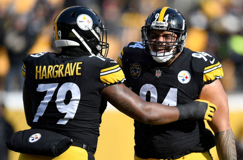 PITTSBURGH, PA - DECEMBER 31: Tyson Alualu #94 of the Pittsburgh Steelers celebrates with Javon Hargrave #79 after a sack of DeShone Kizer #7 of the Cleveland Browns in the first quarter during the game at Heinz Field on December 31, 2017 in Pittsburgh, Pennsylvania. (Photo by Joe Sargent/Getty Images)
