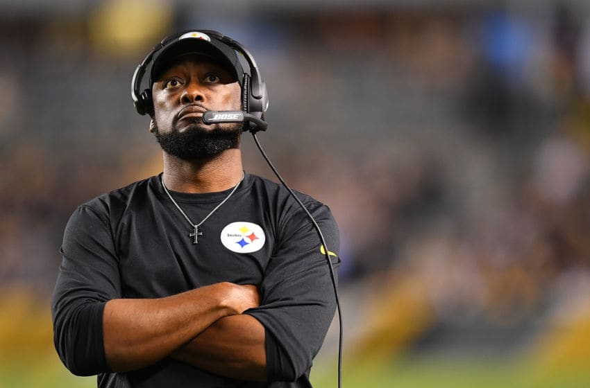 PITTSBURGH, PA - SEPTEMBER 30: head coach Mike Tomlin of the Pittsburgh Steelers looks on during the game against the Baltimore Ravens at Heinz Field on September 30, 2018 in Pittsburgh, Pennsylvania. (Photo by Joe Sargent/Getty Images)