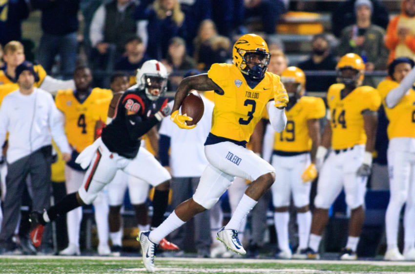 TOLEDO, OH - OCTOBER 31: Diontae Johnson #3 of the Toledo Rockets runs the ball in the game against the Ball State Cardinals on October 31, 2018 in Toledo, Ohio. (Photo by Justin Casterline/Getty Images)