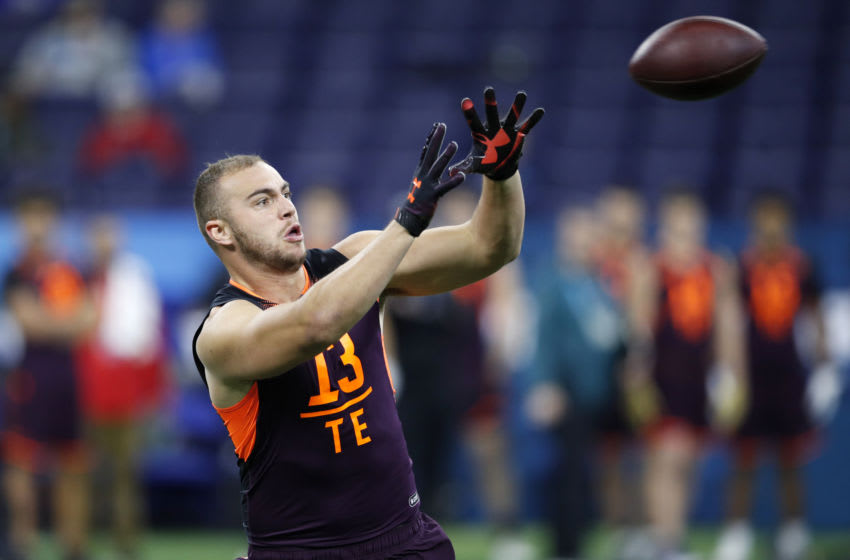 INDIANAPOLIS, IN - MARCH 02: Tight end Dax Raymond of Utah State in action during day three of the NFL Combine at Lucas Oil Stadium on March 2, 2019 in Indianapolis, Indiana. (Photo by Joe Robbins/Getty Images)