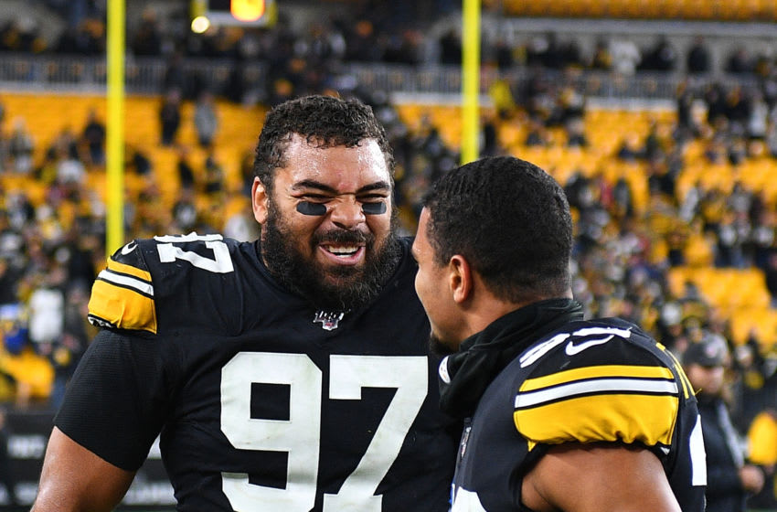 PITTSBURGH, PA - NOVEMBER 10: Cameron Heyward #97 of the Pittsburgh Steelers celebrates with Minkah Fitzpatrick #39 after a 17-12 win over the Los Angeles Rams at Heinz Field on November 10, 2019 in Pittsburgh, Pennsylvania. (Photo by Joe Sargent/Getty Images)