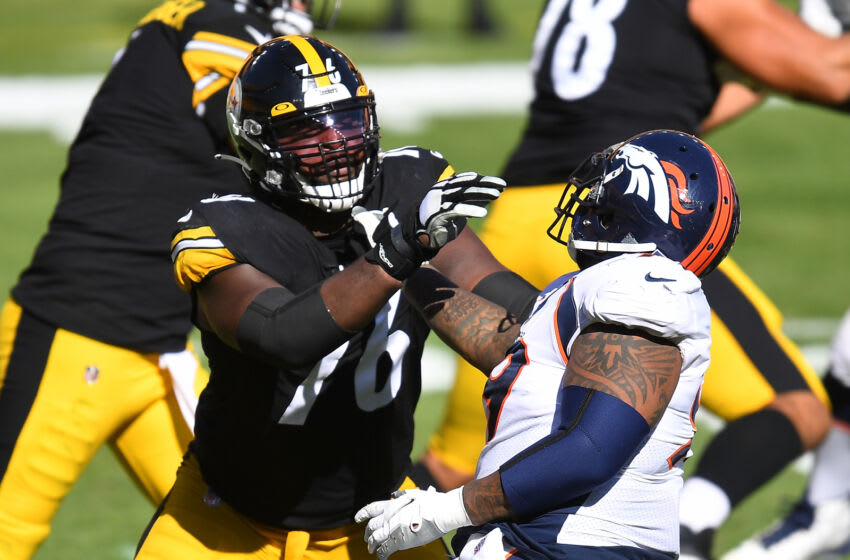 Chukwuma Okorafor #76 of the Pittsburgh Steelers. (Photo by Joe Sargent/Getty Images)