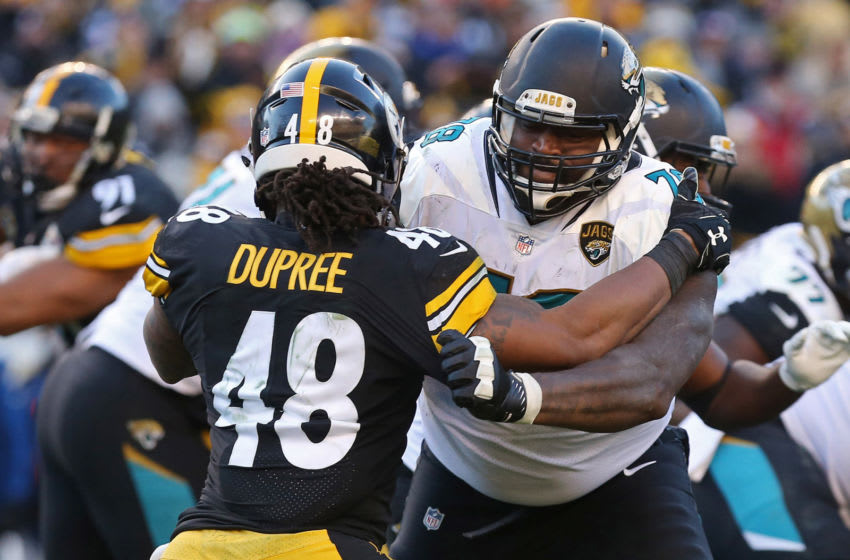 Jan 14, 2018; Pittsburgh, PA, USA; Jacksonville Jaguars offensive tackle Jermey Parnell (78) blocks Pittsburgh Steelers outside linebacker Bud Dupree (48) in the AFC Divisional Playoff game at Heinz Field. Mandatory Credit: Geoff Burke-USA TODAY Sports