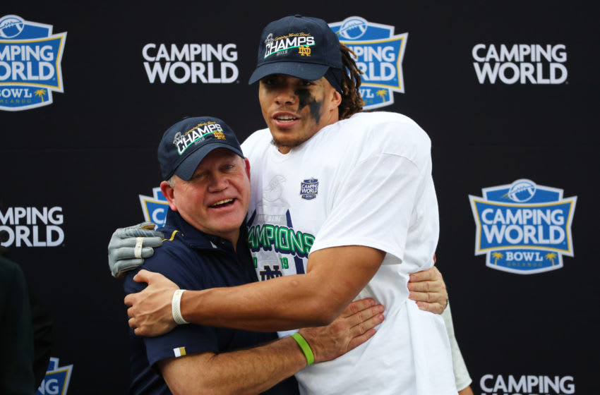 Notre Dame Fighting Irish head coach Brian Kelly and MVP of the game wide receiver Chase Claypool. Mandatory Credit: Kim Klement-USA TODAY Sports
