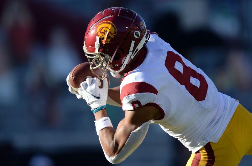 USC Trojans wide receiver Amon-Ra St. Brown (8). Mandatory Credit: Joe Camporeale-USA TODAY Sports