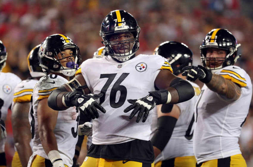 Pittsburgh Steelers offensive tackle Chuks Okorafor (76) (Photo Credit: Kim Klement-USA TODAY Sports