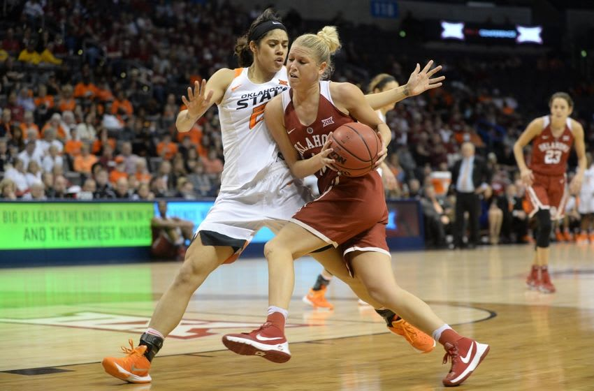Mar 5, 2016; Oklahoma City, OK, USA; Oklahoma Sooners guard Peyton Little (10) drives to the basket against Oklahoma State Cowgirls guard Brittney Martin (22) in the fourth quarter during the women
