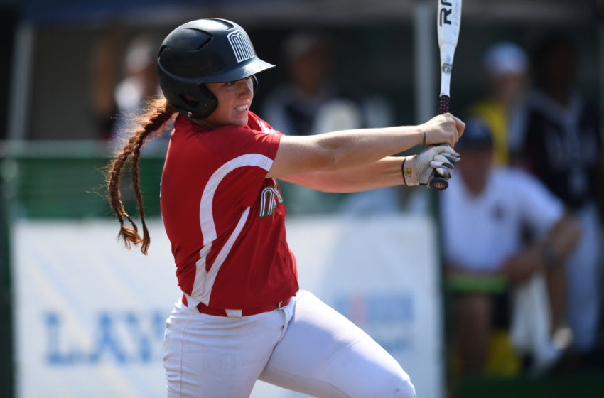 CHIBA, JAPAN - AUGUST 03: Suzannah Lillian Brookshire Gonzalez #5 of Mexico hits a single in the Sixth inning against United States during the Preliminary Round match at Akitsu Stadium on day two of the WBSC Women's Softball World Championship on August 3, 2018 in Chiba, Japan. (Photo by Takashi Aoyama/Getty Images)
