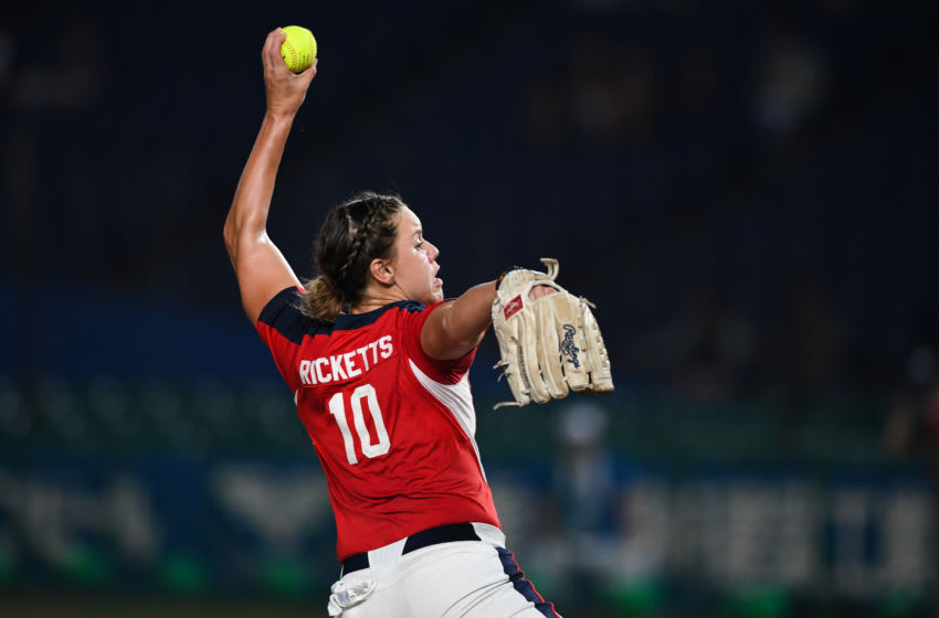 CHIBA, JAPAN - AUGUST 12: Keilani Johanna Ricketts #10 of United States pitches against Japan during their World Championship Final match at ZOZO Marine Stadium on day eleven of the WBSC Women's Softball World Championship on August 12, 2018 in Chiba, Japan. (Photo by Takashi Aoyama/Getty Images)