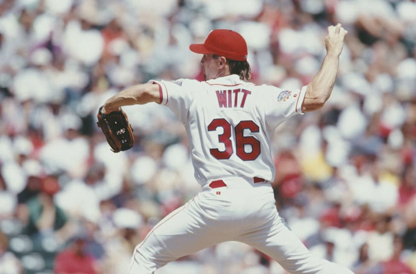 Bobby Witt, Pitcher for the Texas Rangers prepares to throw during the Major League Baseball American League West game against the Toronto Blue Jays on 20 April 1997 at The Ballpark in Arlington, Texas, United States. The Rangers defeated the Blue Jays 10 - 5. (Photo by Stephen Dunn/Getty Images)