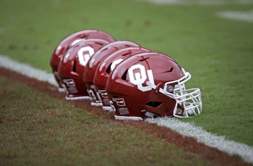 NORMAN, OK - SEPTEMBER 08: Oklahoma Sooners helmets