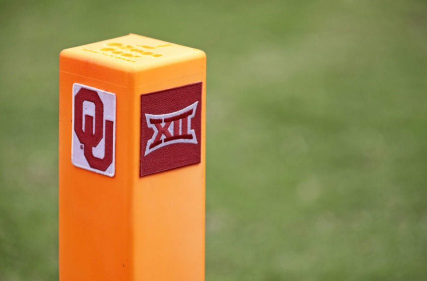 NORMAN, OK - SEPTEMBER 29: An end zone pylon during the Baylor Bears vs. Oklahoma Sooners game at Gaylord Family Oklahoma Memorial Stadium on September 29, 2018 in Norman, Oklahoma. Oklahoma defeated Baylor 66-33. (Photo by Brett Deering/Getty Images) *** Local Caption ***
