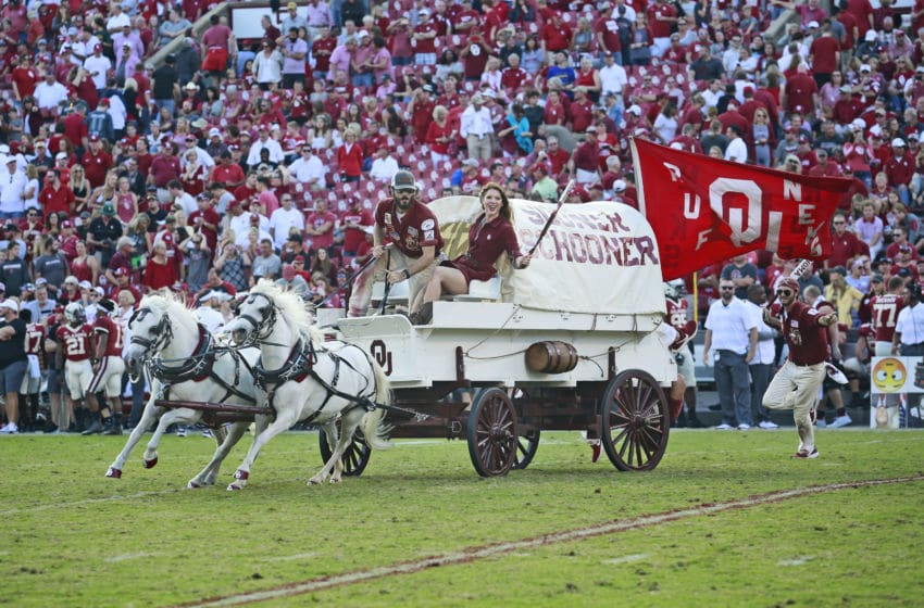 NORMAN, OK - SEPTEMBER 29: The Oklahoma Sooners Sooner Schooner takes to the field after a touchdown against the Baylor Bears at Gaylord Family Oklahoma Memorial Stadium on September 29, 2018 in Norman, Oklahoma. Oklahoma defeated Baylor 66-33. (Photo by Brett Deering/Getty Images) *** Local Caption ***