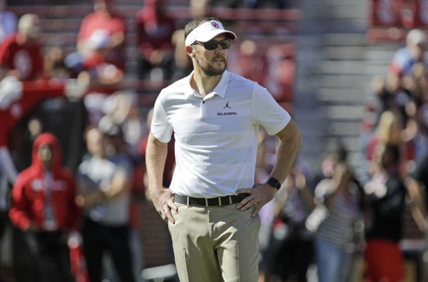 NORMAN, OK - OCTOBER 27: Head Coach Lincoln Riley of the Oklahoma Sooners watches warm ups before the game against the Kansas State Wildcats at Gaylord Family Oklahoma Memorial Stadium on October 27, 2018 in Norman, Oklahoma. Oklahoma defeated Kansas State 51-14. (Photo by Brett Deering/Getty Images)