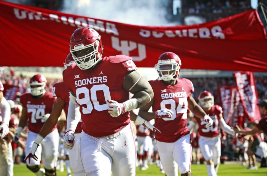 NORMAN, OK - OCTOBER 27: The Oklahoma Sooners take the field before the game against the Kansas State Wildcats at Gaylord Family Oklahoma Memorial Stadium on October 27, 2018 in Norman, Oklahoma. Oklahoma defeated Kansas State 51-14. (Photo by Brett Deering/Getty Images) *** Local Caption ***