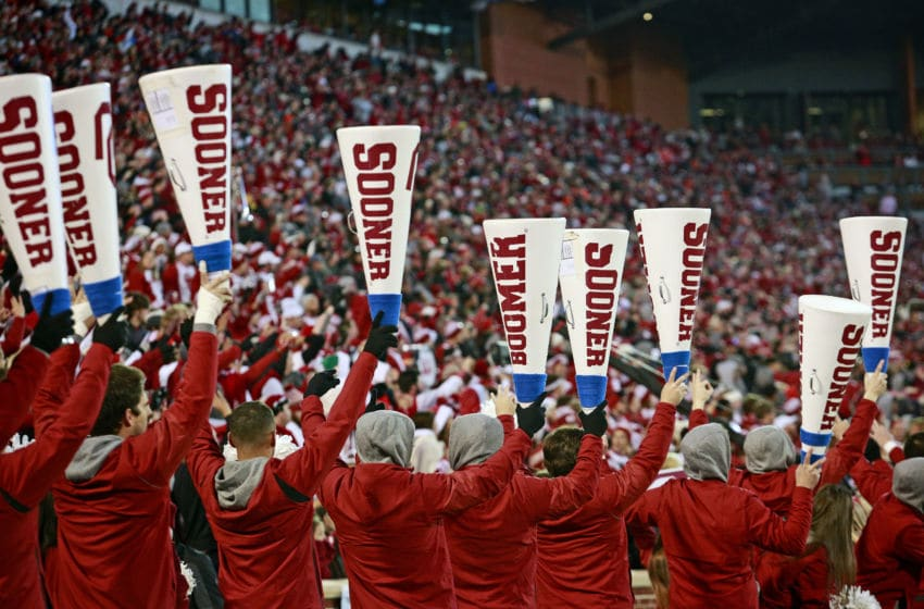 NORMAN, OK - NOVEMBER 10: Members of the Oklahoma Sooners spirit squad perform during the game against the Oklahoma State Cowboys at Gaylord Family Oklahoma Memorial Stadium on November 10, 2018 in Norman, Oklahoma. Oklahoma defeated Oklahoma State 48-47. (Photo by Brett Deering/Getty Images) *** Local Caption ***
