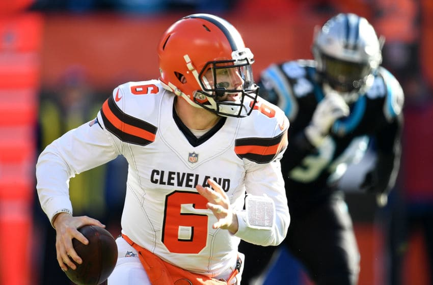 CLEVELAND, OH - DECEMBER 09: Baker Mayfield #6 of the Cleveland Browns looks to pass during the first quarter against the Carolina Panthers at FirstEnergy Stadium on December 9, 2018 in Cleveland, Ohio. (Photo by Jason Miller/Getty Images)