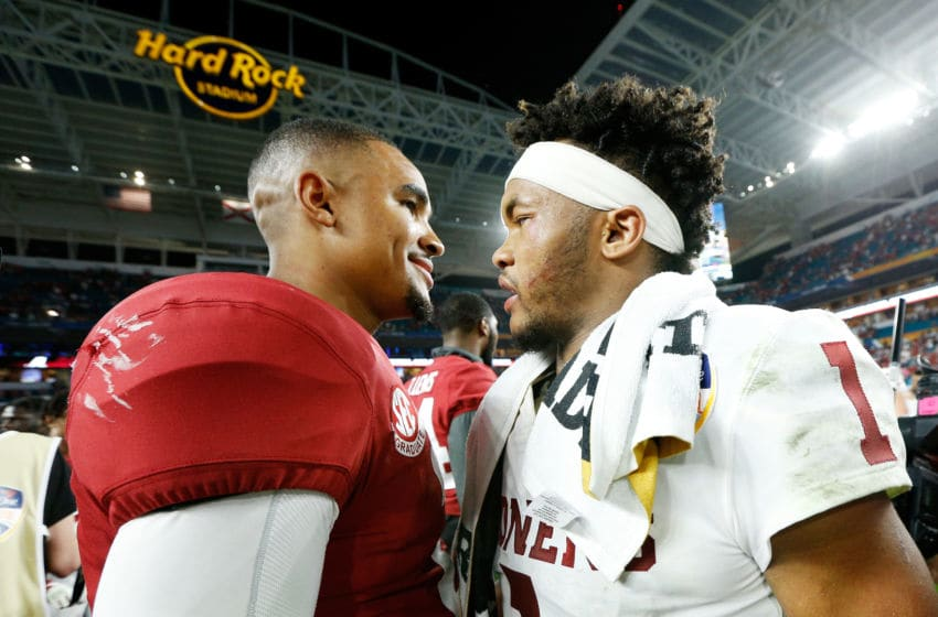 MIAMI, FL - DECEMBER 29: Kyler Murray #1 of the Oklahoma Sooners congratulates Jalen Hurts #2 of the Alabama Crimson Tide after Alabama Crimson Tide defeat the Oklahoma Sooners 45-34 to win the College Football Playoff Semifinal at the Capital One Orange Bowl at Hard Rock Stadium on December 29, 2018 in Miami, Florida. (Photo by Michael Reaves/Getty Images)