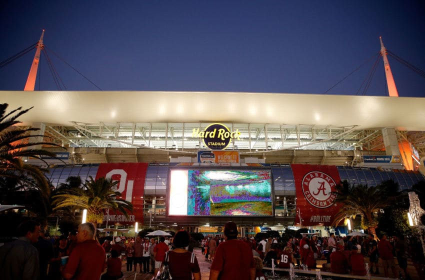 MIAMI, FL - DECEMBER 29: A general view of Hard Rock Stadium prior to the College Football Playoff Semifinal at the Capital One Orange Bowl between the Alabama Crimson Tide and the Oklahoma Sooners on December 29, 2018 in Miami, Florida. (Photo by Michael Reaves/Getty Images)