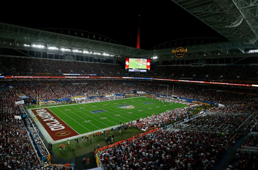 MIAMI, FL - DECEMBER 29: A general view of Hard Rock Stadium during the College Football Playoff Semifinal at the Capital One Orange Bowl between the Alabama Crimson Tide and the Oklahoma Sooners at Hard Rock Stadium on December 29, 2018 in Miami, Florida. (Photo by Michael Reaves/Getty Images)