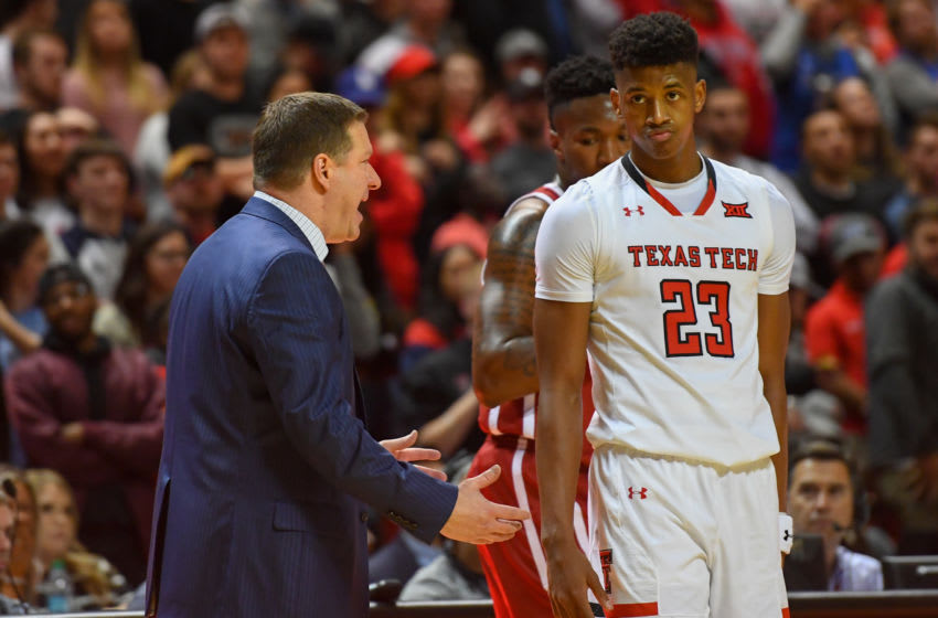 LUBBOCK, TX - JANUARY 08: Head coach Chris Beard of the Texas Tech Red Raiders talks with Jarrett Culver #23 at a time out during the second half of the game on January 8, 2019 at United Supermarkets Arena in Lubbock, Texas. Texas Tech defeated Oklahoma 66-59. (Photo by John Weast/Getty Images)