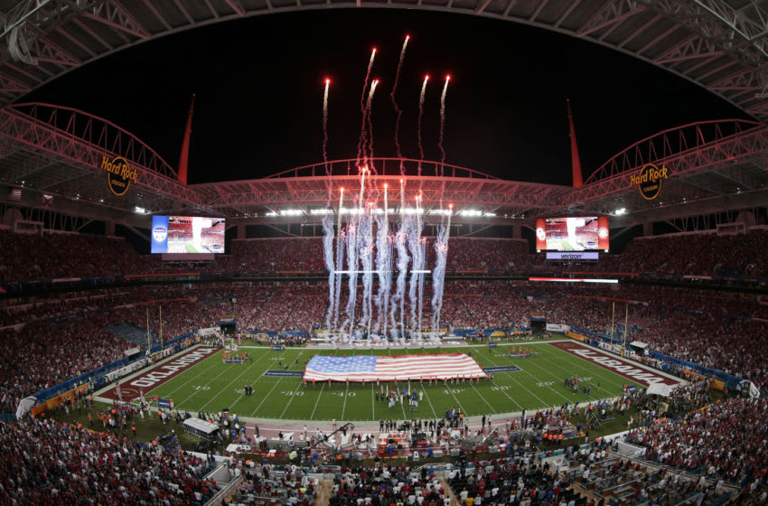 MIAMI GARDENS, FL - DECEMBER 29: The National Anthem is played prior to the College Football Playoff Semifinal at the Capital One Orange Bowl between the Alabama Crimson Tide and the Oklahoma Sooners at Hard Rock Stadium on December 29, 2018 in Miami Gardens, Florida. (Photo by Joel Auerbach/Getty Images)
