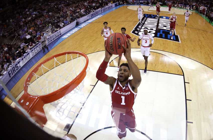 COLUMBIA, SOUTH CAROLINA - MARCH 22: Rashard Odomes #1 of the Oklahoma Sooners goes up for a dunk against the Mississippi Rebels during the first round of the 2019 NCAA Men's Basketball Tournament at Colonial Life Arena on March 22, 2019 in Columbia, South Carolina. (Photo by Streeter Lecka/Getty Images)