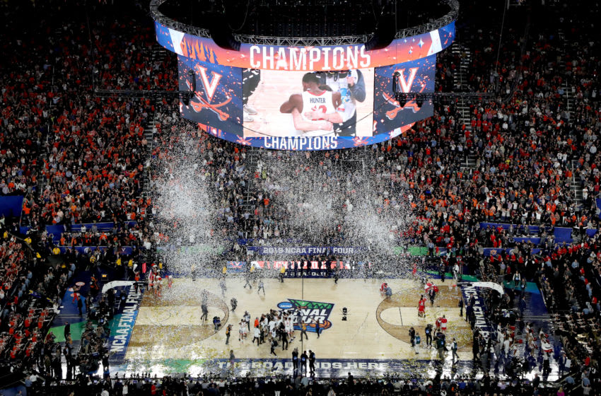 MINNEAPOLIS, MINNESOTA - APRIL 08: The Virginia Cavaliers celebrate their teams 85-77 win over the Texas Tech Red Raiders to win the the 2019 NCAA men's Final Four National Championship game at U.S. Bank Stadium on April 08, 2019 in Minneapolis, Minnesota. (Photo by Tom Pennington/Getty Images)