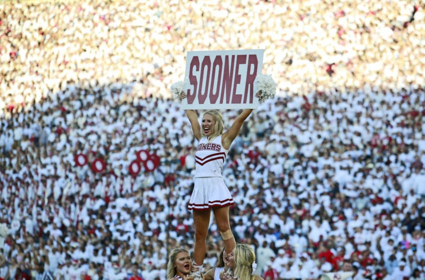 NORMAN, OK - SEPTEMBER 01: Members of the Oklahoma Sooners spirit squad perform before the game against the Houston Cougars at Gaylord Family Oklahoma Memorial Stadium on September 1, 2019 in Norman, Oklahoma. The Sooners defeated the Cougars 49-31. (Photo by Brett Deering/Getty Images)