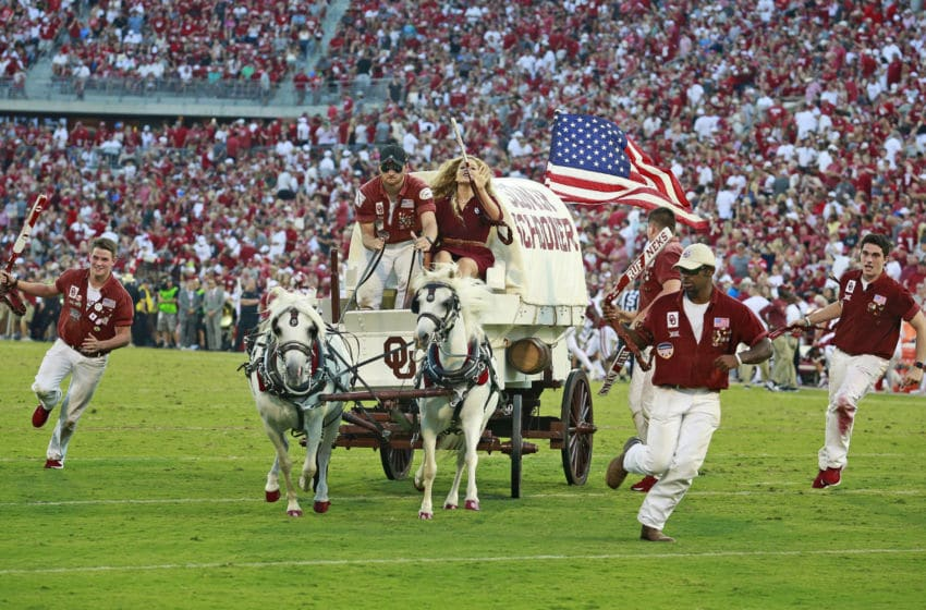 NORMAN, OK - SEPTEMBER 07: The Sooner Schooner rides after a touchdown against the South Dakota Coyotes at Gaylord Family Oklahoma Memorial Stadium on September 7, 2019 in Norman, Oklahoma. The Oklahoma Sooners defeated the South Dakota Coyotes 70-14. (Photo by Brett Deering/Getty Images)