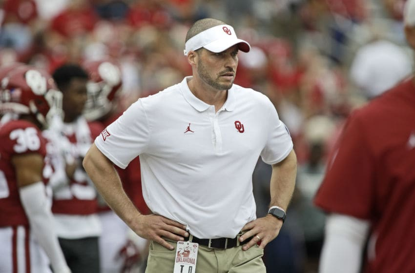 NORMAN, OK - SEPTEMBER 28: Defensive coordinator Alex Grinch observers warm ups before the game against the Texas Tech Red Raiders at Gaylord Family Oklahoma Memorial Stadium on September 28, 2019 in Norman, Oklahoma. The Sooners defeated the Red Raiders 55-16. (Photo by Brett Deering/Getty Images)